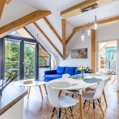 Obývací pokoj apartmánu Adina 8 v komplexu Ski Chalet Klínovec